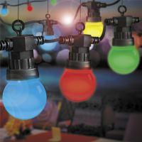 Udendørs Party Lyskæde 10m med 10 farvede LED pærer, 1W