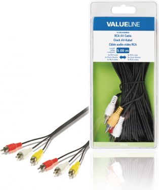 Valueline VLVB24300B50 Composite Video Kabel 3x RCA Han - 3x RCA Han 5.00 m Sort