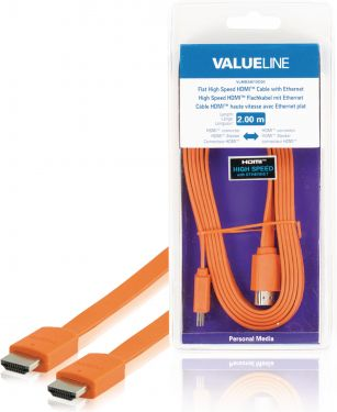 Valueline VLMB34010O20 High Speed Hdmi Kabel Med Ethernet Flat HDMI-Stik - HDMI-Stik 2.00 m Orange