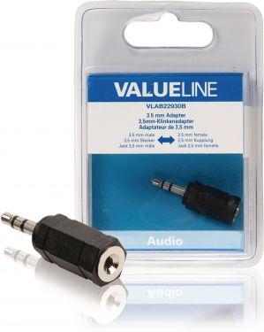 Valueline VLAB22930B Stereo Audio Adapter 3.5 mm Han - 2.5 mm Hun Sort