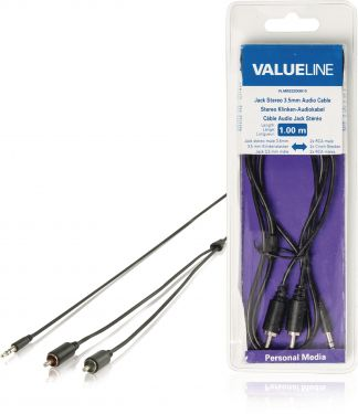 Valueline VLMB22200B10 Stereo Audio Kabel 3.5 mm Han - 2x RCA Han 1.00 m Sort