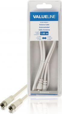Valueline VLSB41000W10 Antennekabel F-Han - F-Han 1.00 m Hvid