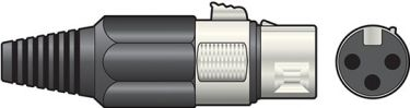 XLR socket, short, 3-pin