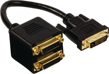 Valueline DVI Cable DVI-D 24+1-Pin Male - 2x DVI-D 24+1-Pin Female 0.20 m Black, VGCP32950B02