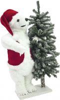 Europalms Polar bear, with snowy fir, 105cm