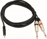 Omnitronic - Audiokabel - 3,5mm st.JACK > 2 x 6,35mm mono JACK han (6m)