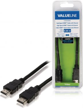Valueline VLVB34000B05 High Speed Hdmi Kabel Med Ethernet HDMI-Stik - HDMI-Stik 0.50 m Sort