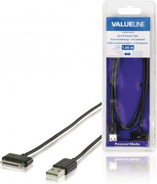 Valueline VLMB39100B10 Opladerkabel Apple Stik 30-Pin - USB A Han 1.00 m Sort