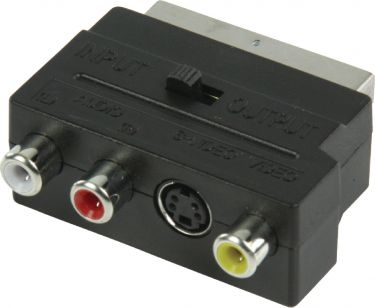 Valueline VLVB31902B Scart-Adapter Skiftelig SCART Han - S-Video Hun + 3x RCA Hun Sort