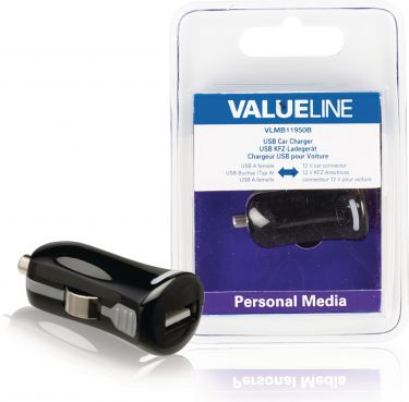 Valueline VLMB11950B Biloplader 1-Udgang 2.1 A USB Sort