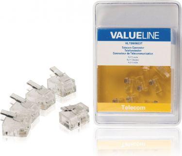 Valueline VLTB90923T Telecom Stik RJ11 Han PVC Gennemsigtig