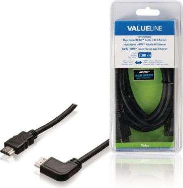 Valueline VLVB34250B30 High Speed Hdmi Kabel Med Ethernet HDMI-Stik - HDMI-Stik Vinklet venstre 3.00