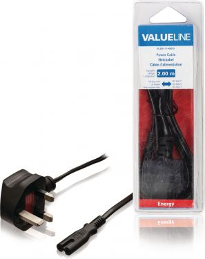 Valueline VLEB11140B20 Uk Strømkabel UK Han - IEC-320-C7 2.00 m Sort
