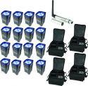 BeamZ BBP96 Batteri Uplight Par 6x 12W - Pakke med 16 stk. inkl. Taske