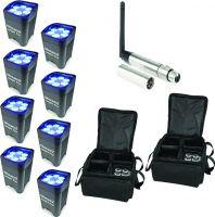 BeamZ BBP96 Batteri Uplight Par 6x 12W - Pakke med 8 stk. inkl. Taske