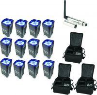BeamZ BBP96 Batteri Uplight Par 6x 12W - Pakke med 12 stk. inkl. Taske