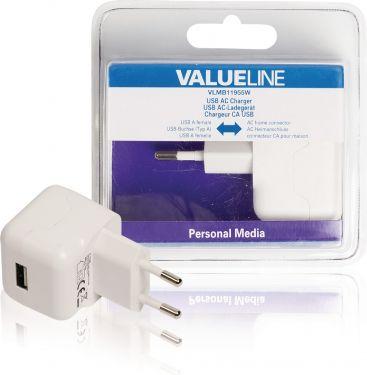 Valueline VLMB11955W Vægoplader 1-Udgang 2.1 A 2.1 A USB Hvid