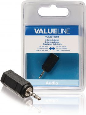 Valueline VLAB21930B Stereo Audio Adapter 2.5 mm Han - 3.5 mm Hun Sort