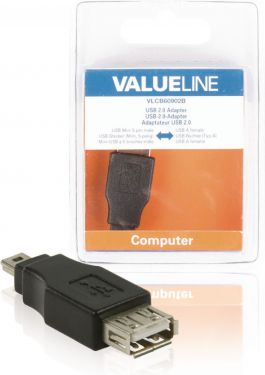 Valueline VLCB60902B Usb 2.0 Adapter Mini 5-Pin Han - USB A Hun Sort