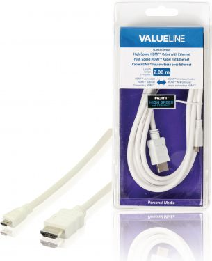 Valueline VLMB34700W20 High Speed Hdmi Kabel Med Ethernet HDMI-Stik - HDMI micro Male 2.00 m Hvid