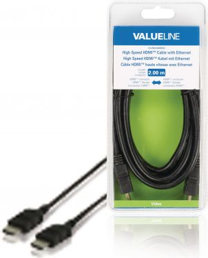 Valueline VLVB34000B20 High Speed Hdmi Kabel Med Ethernet HDMI-Stik - HDMI-Stik 2.00 m Sort