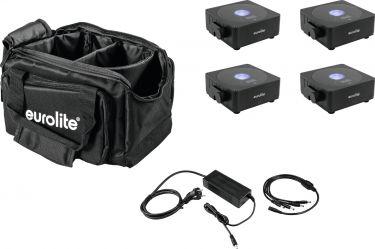 Eurolite Set 4x AKKU Flat Light 1 black + Soft-Bag + Charger
