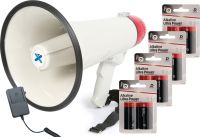 Megafon ekstra kraftig 40W, med sirene, inkl. dobbelt batteripakke