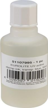 Eurolite UV-active Stamp Ink, transparent blue, 50ml