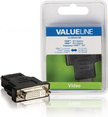 Valueline VLVB34910B High Speed Hdmi Med Ethernet Adapter HDMI-Stik - DVI-D 24 + 1-Pin Hun Sort