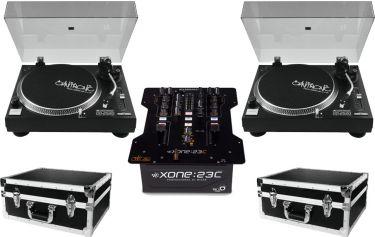 A&H Xone23C DJ Club mixer 2 x Omnitronic DD-2520 Pakketilbud