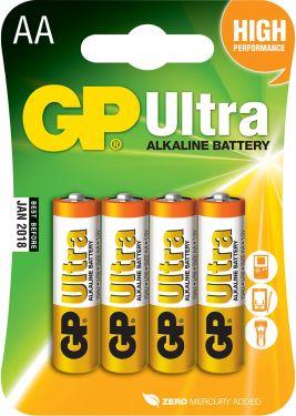 Alkaline batteries, AA, 1.5V, packed 4 /blister