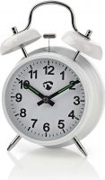 Nedis Analogue Desk Alarm Clock | Metal | White, CLDK007WT