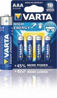 Varta Alkaline Battery AAA 1.5 V High Energy 4-Blister, 4903.121.414