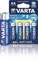 Varta Alkaline Batteri AA 1.5 V High Energy 4-Blister, 4906.121.414