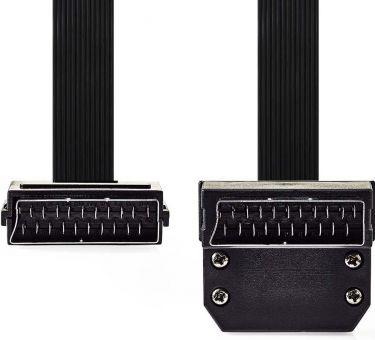 Nedis SCART Flat Cable | SCART Male - SCART Male 90° Angled | 2.0 m | Black, CVGP31045BK20