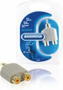 Bandridge Stereo Audio Adapter RCA Male - 2x RCA Female Grey, BAP124