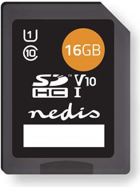 Nedis Memory Card | SDHC | 16 GB | Writing up to 80 Mbps | Class 10, MSDC16100BK