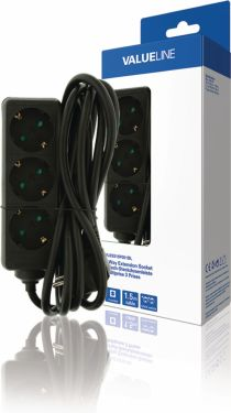 Valueline Extension Socket 3-Way 1.50 m Black - Protective Contact, VLES315F001BL