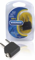 Bandridge Stereo Audio Adapter Angled 90° 2x 3.5 mm Male - 3.5 mm Female Black, BHP061