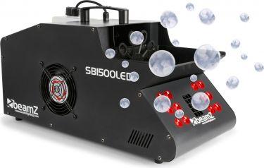 Røg- og sæbeboblemaskine 1500W med LED lys der giver røg og sæbebobler i flotte farver