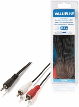 Valueline Stereo Audio Cable 3.5 mm Male - 2x RCA Male 10.0 m Black, VLAB22200B100