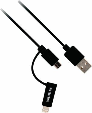 Valueline 2-in-1 Sync and Charge Cable USB-A Male - Micro B Male 1.00 m Black + Lightning Adapter, V