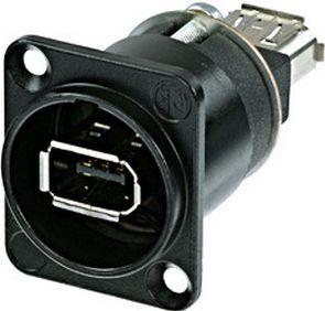 Firewire Chassis connector /gennemføring, sort