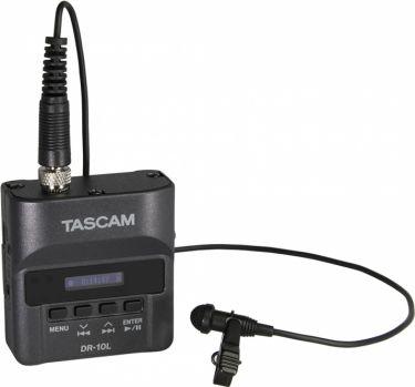Tascam DR-10L recorder med lavalier mikrofon, sort
