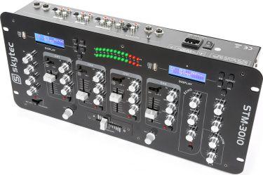 """DJ Mixer 19"""" STM-3010 4-kanals med Crossfader og Dobbelt USB/MP3 afspiller"""