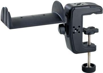 K&M hovedtelefon-holder m/ bordklemme, sort