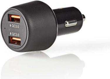 Nedis Car Charger | 3.0 A | 2x USB (QC 3.0) | Black, CCQC600ABK