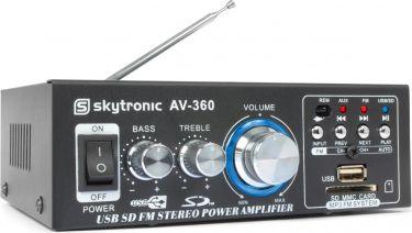 Mini Hi-Fi forstærker AV-360 2x40W med FM radio og USB/SD/MP3-afspiller