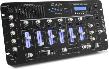 """DJ Mixer 19"""" STM-3007 6-kanals med LED lys, Bluetooth og SD/USB/MP3-afspiller"""