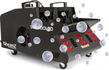 Røg- og sæbeboblemaskine 2000W med LED lys der giver røg og sæbebobler i flotte farver